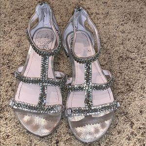 Vince Camuto Silver zip up sandals/Size 6